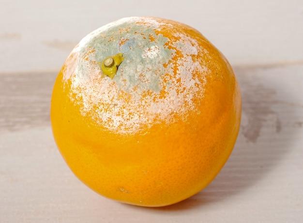 Гнилой апельсин на деревянном столе