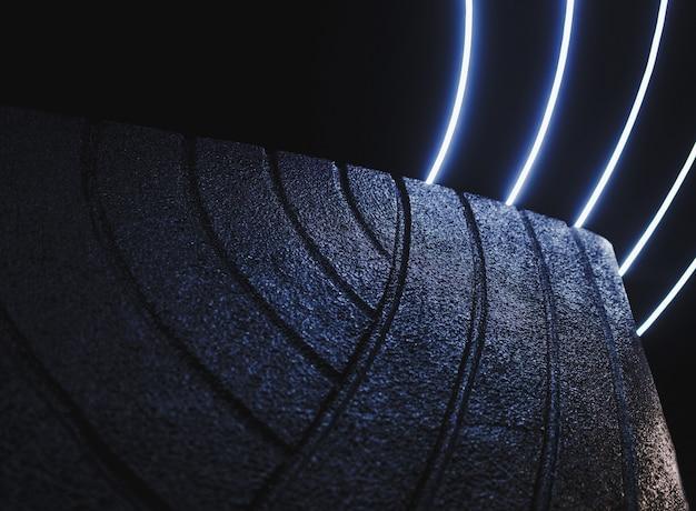 Грубый декоративный камень в темном интерьере с подсветкой