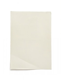 Rough empty paper isolated on white.