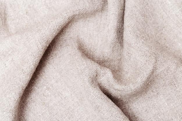 Грубая текстура льняной ткани крупным планом