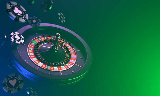 Roulette casino on a dark dynamic falling of casino chips and roulette on a dark casino