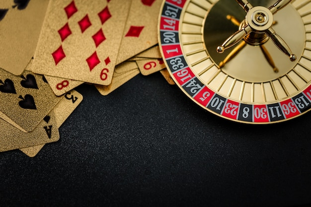 Roulette wheel gambling in a casino table