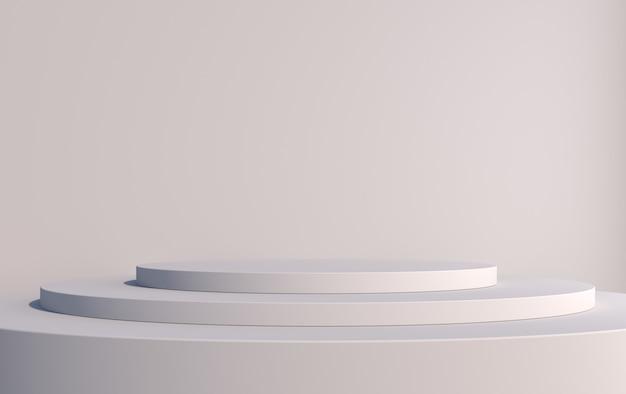 商品を灰色で表示するためのピラミッドの形をした丸い3d表彰台、3dレンダリング