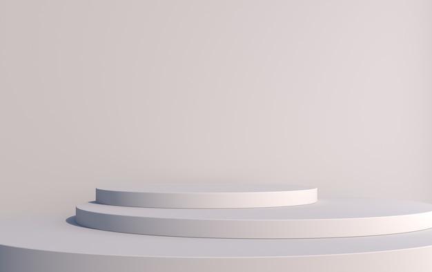 商品を灰色の3dレンダリングで表示するための、さまざまな高さの丸い3d表彰台