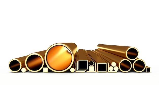 Круглые и квадратные золотые трубы и трубки