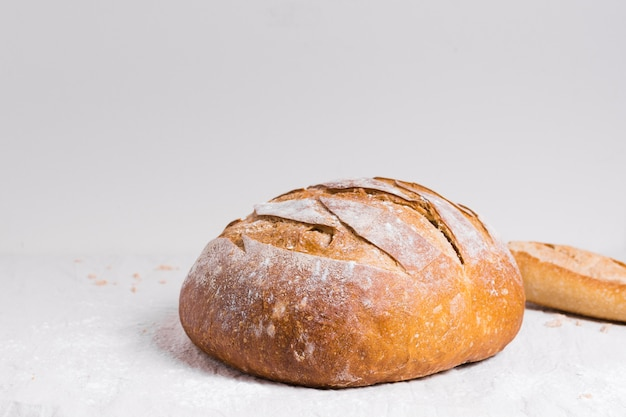 Round baked bread front view
