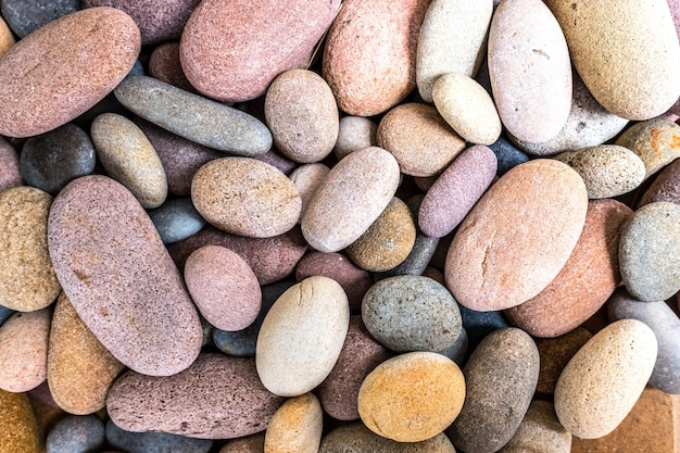 Round beach rocks to decorate the home.