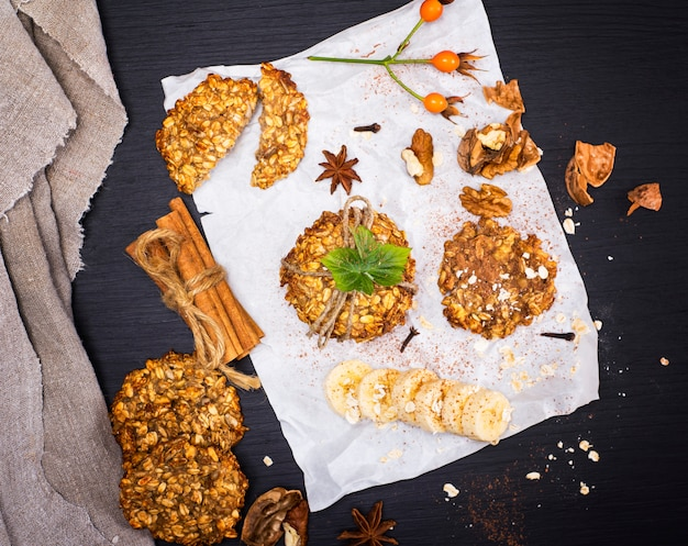 Round biscuits made from oatmeal and bananas, top view