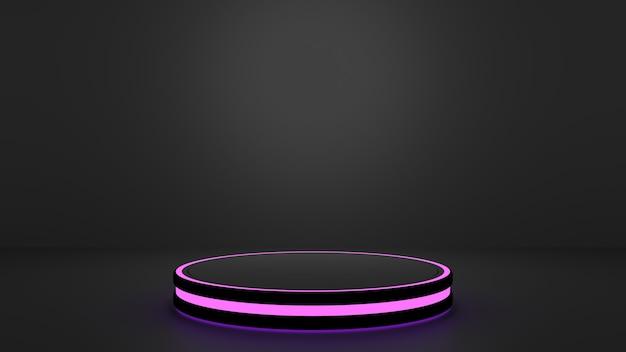 Круглая черная капсула с фиолетовыми или пурпурными огнями на черном фоне идеально подходит для игровых продуктов