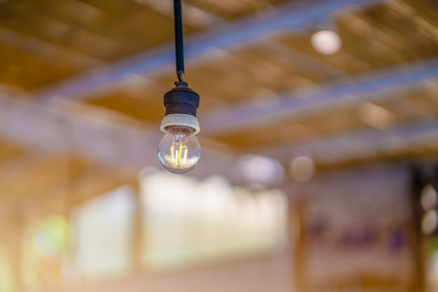 Round bulb on the ceiling