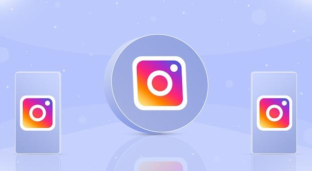 화면 3d에 인스타그램 로고가 있는 두 대의 전화기가 있는 원형 버튼 인스타그램 아이콘