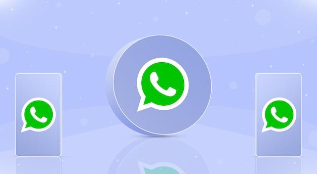 화면 3d에 whatsapp 로고가 있는 두 개의 전화기가 있는 둥근 버튼 whatsapp 아이콘