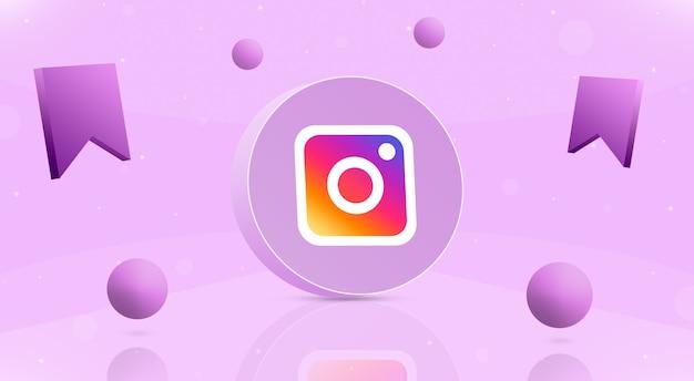 Круглая кнопка с шариками с логотипом instagram и значок сохранения вокруг 3d