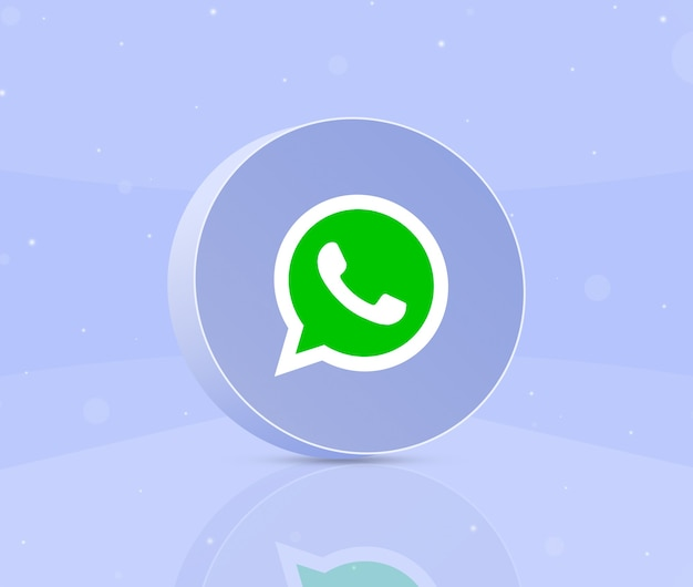 Whatsapp 로고 아이콘 3d 라운드 버튼