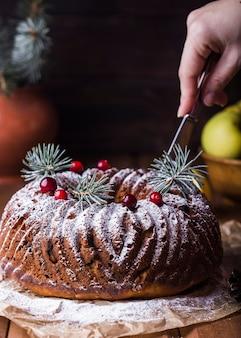 치즈, 사과, 건포도를 곁들인 원형 케이크