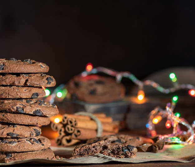 Round chocolate cookies in a stack