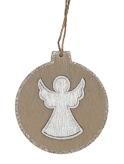 Round christmas tree decoration with angel in center isolated on white background.