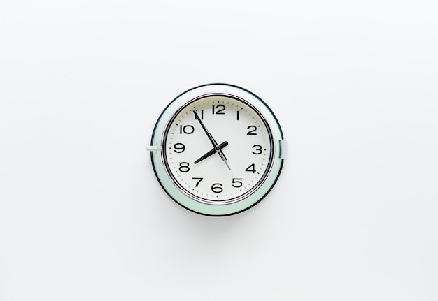Round clock watch on white background