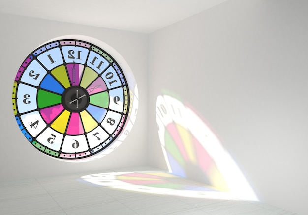 Round clock window in the room