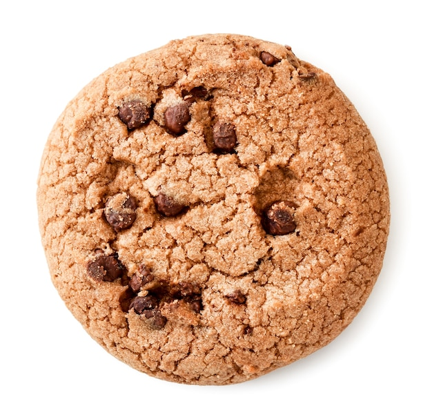 Round cookies with pieces of chocolate on a white background. the view of the top.