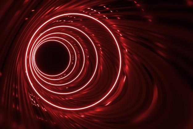 Round corridor with red neon futuristic backlighting