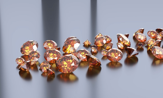 Round diamond topaz gem placed on dark reflection table 3d illustration.
