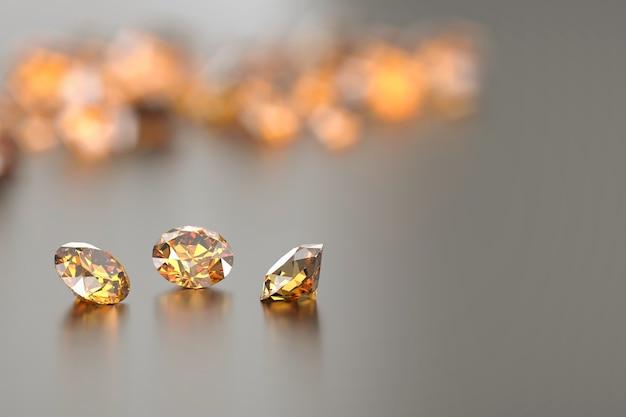 光沢のある背景に配置されたラウンドダイヤモンドトパーズ宝石反射3dレンダリング