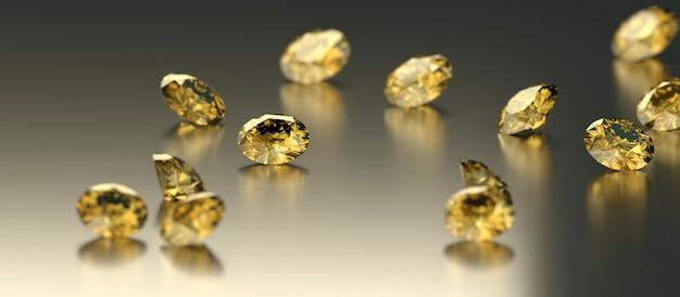 Round diamond topaz gem reflected placed