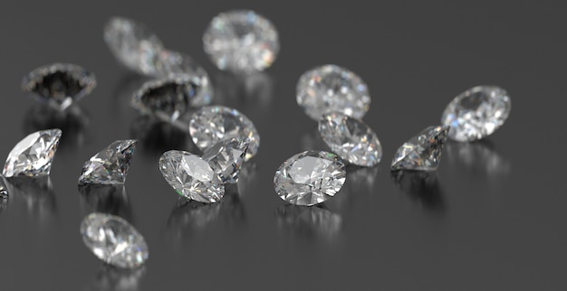Round diamonds group placed on dark glossy background, 3d rendering, soft focus.