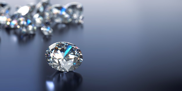 Round diamonds group placed on glossy background 3d rendering soft focus