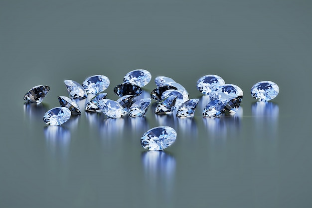 ラウンドダイヤモンドグループは暗い光沢のある背景、3 dレンダリングに配置されます。