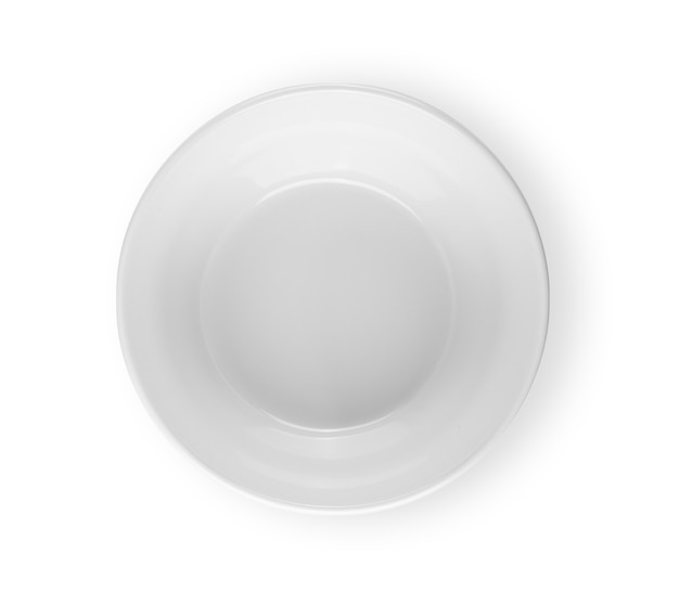 Round dish top view isolated on white background