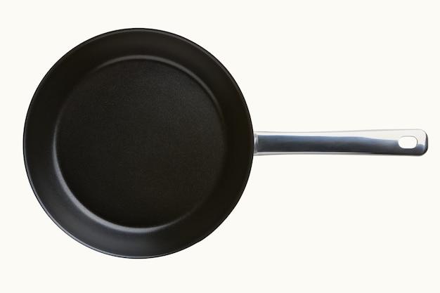 라운드 빈 프라이팬 흰색 배경에 고립입니다. 고기나 야채를 튀기기 위한 철판 도구. 상위 뷰를 닫습니다.