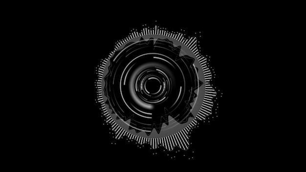 黒の背景にラウンドイコライザー