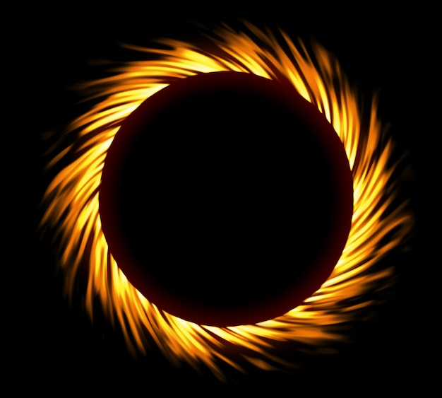 Round fire frame. fire eclipse or fire swirl