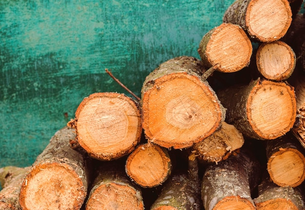 Round firewood for heating a rural house on a green background