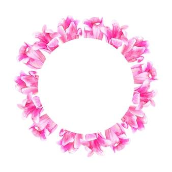 丸い花柄。ピンクのチューリップ。手描きの水彩イラスト。孤立。