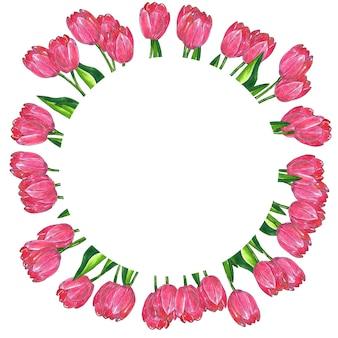 라운드 꽃 프레임. 잎 붉은 분홍색 튤립. 손으로 그린 수채화 및 잉크 그림. 외딴.