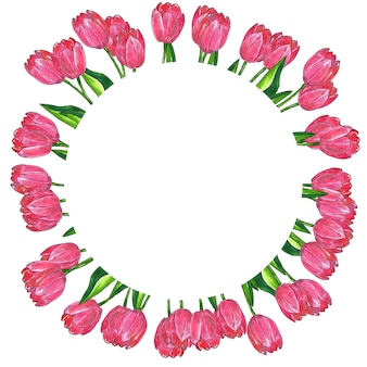Round floral frame. red pink tulips with leaves. hand drawn watercolor and ink illustration. isolated.