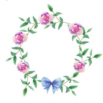 丸い花柄。水彩手描きイラスト。
