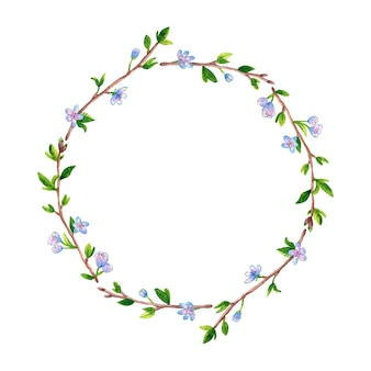 Round floral frame with spring branches apple or cherry tree. hand drawn watercolor illustration. isolated.