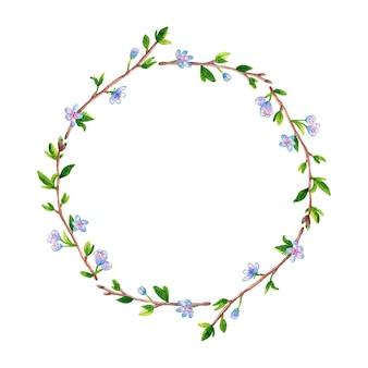春の枝リンゴまたは桜の木と丸い花のフレーム。手描きの水彩イラスト。孤立。