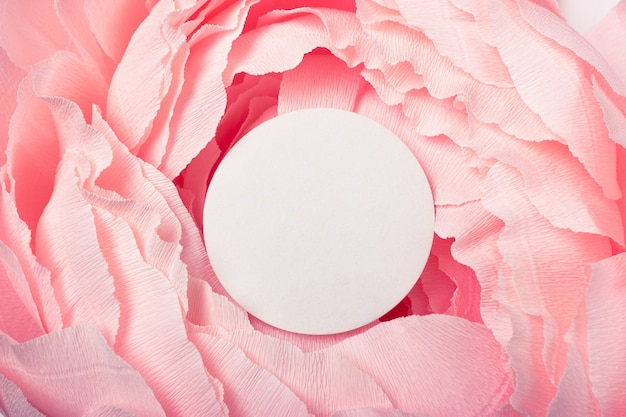 Round frame on the abstract spring romantic background.