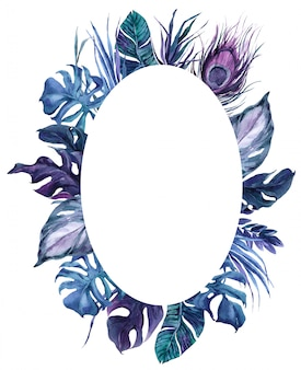 Round frame exotic bird feathers and tropical leaves wreath