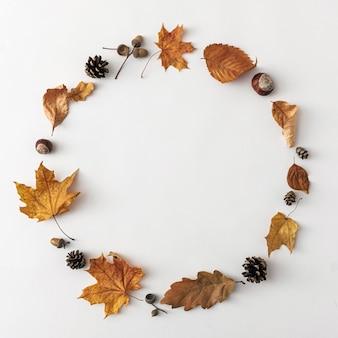 흰색 배경에 있는 가을의 문자 메시지 라운드 프레임, 가을의 최소 개념