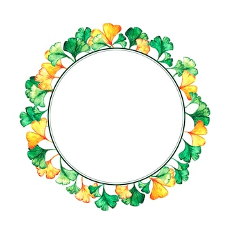 Round frame of ginkgo biloba leaves.