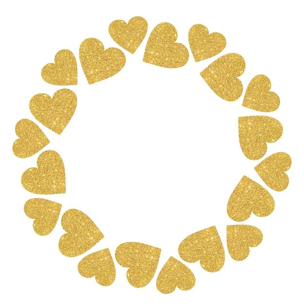 Round frame of golden shiny hearts on a white background.