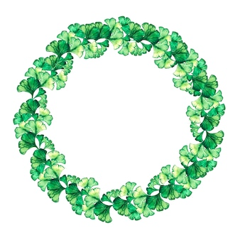 Round frame of green leaves of ginkgo biloba.