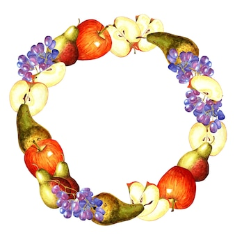 りんご、梨、ぶどうでできた丸いフレーム。白い背景で隔離の水彩イラスト。