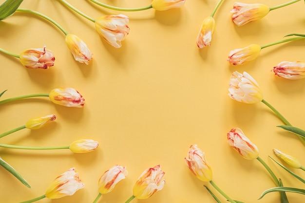 Круглая рамка из цветов желтого тюльпана на желтом